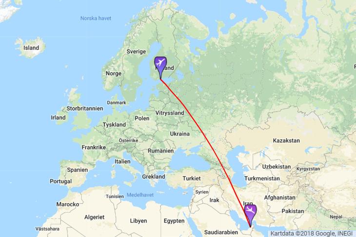 Lentoaika Helsinki Dubai